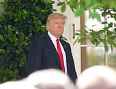 United States President Donald J. Trump arrives to make a statement regarding the Paris Accord in the Rose Garden of the White House in Washington, DC on Thursday, June 1, 2017.  The President announced the US will withdraw from the accord.<br /> Credit: Ron Sachs / CNP