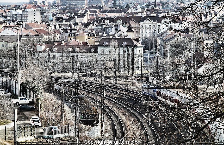 View to the railroad that runs through Prague, Czech Republic.