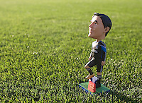Chris Wondolowski's Bobblehead is pictured on the ground before the game between Earthquakes and WhiteCaps at Buck Shaw Stadium in Santa Clara, California on July 20th, 2011.  Earthquakes and WhiteCaps are tied 1-1 at halftime.