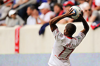 Jeremy Hall (17) of the New York Red Bulls on a throw in. The New York Red Bulls defeated the Philadelphia Union 2-1 during a Major League Soccer (MLS) match at Red Bull Arena in Harrison, NJ, on April 24, 2010.