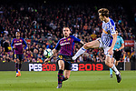 Paco Alcacer Garcia of FC Barcelona (L) fights for the ball with Diego Javier Llorente of Real Sociedad (R) during the La Liga match between Barcelona and Real Sociedad at Camp Nou on May 20, 2018 in Barcelona, Spain. Photo by Vicens Gimenez / Power Sport Images