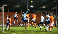 Accrington Stanley's Jonathan Maxted defends an attempt at goal<br /> <br /> Photographer Rachel Holborn/CameraSport<br /> <br /> The EFL Checkatrade Trophy Group C - Blackpool v Accrington Stanley - Tuesday 13th November 2018 - Bloomfield Road - Blackpool<br />  <br /> World Copyright © 2018 CameraSport. All rights reserved. 43 Linden Ave. Countesthorpe. Leicester. England. LE8 5PG - Tel: +44 (0) 116 277 4147 - admin@camerasport.com - www.camerasport.com