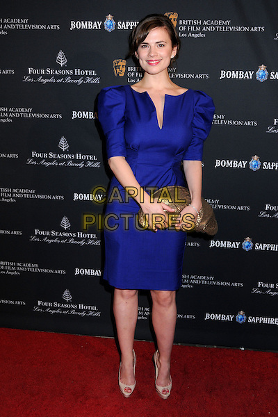 HAYLEY ATWELL .17th Annual BAFTA Los Angeles Awards Season Tea Party held at the Four Seasons Hotel, Beverly Hills, California, USA, 15th January 2011..full length blue purple dress gold clutch bag puffy sleeve shoulders .CAP/ADM/BP.©Byron Purvis/AdMedia/Capital Pictures.