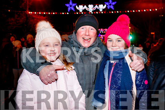 Amy, Manus and Orla Leane at the Fireworks in Tralee on New Years Eve.