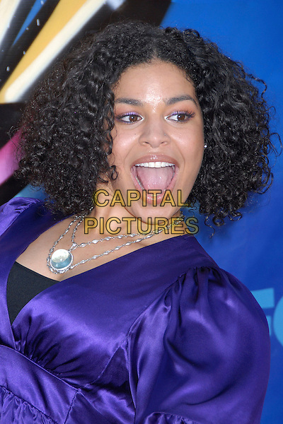 JORDIN SPARKS.2007 Teen Choice Awards - Arrivals at the Gibson Amphitheater, Universal City, California, USA..August 26th, 2007.headshot portrait purple silver necklace mouth open .CAP/ADM/BP.©Byron Purvis/AdMedia/Capital Pictures