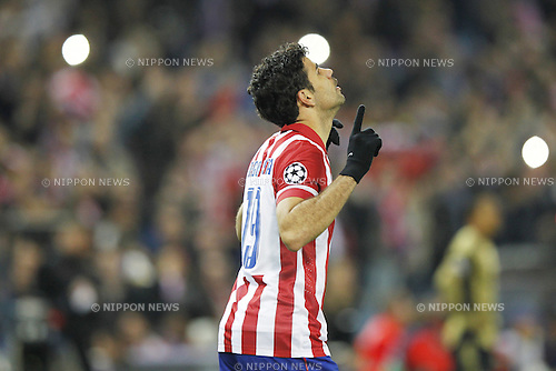 Diego Costa (Atletico), MARCH 11, 2014 - Football / Soccer : Diego Costa celebrate after his first goal on UEFA Champions League match between Atletico de Madrid and AC Milan at the Vicente Calderon Stadium in Madrid, Spain. (Photo by AFLO) [3604]