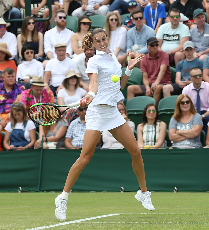 Petra Martic (CRO) during her match against  Elina Svitolina (UKR) in their Ladies' Singles Fourth Round match<br /> <br /> Photographer Rob Newell/CameraSport<br /> <br /> Wimbledon Lawn Tennis Championships - Day 7 - Monday 8th July 2019 -  All England Lawn Tennis and Croquet Club - Wimbledon - London - England<br /> <br /> World Copyright © 2019 CameraSport. All rights reserved. 43 Linden Ave. Countesthorpe. Leicester. England. LE8 5PG - Tel: +44 (0) 116 277 4147 - admin@camerasport.com - www.camerasport.com