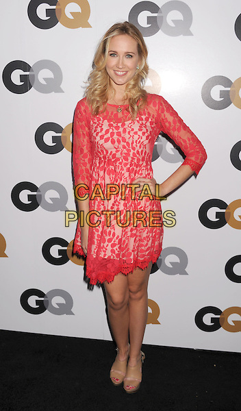 Anna Camp.Arriving at the GQ Men Of The Year Party at Chateau Marmont Hotel in Los Angeles, California, USA..November 13th, 2012.full length dress hand on hip red pink lace .CAP/ROT/TM.©Tony Michaels/Roth Stock/Capital Pictures