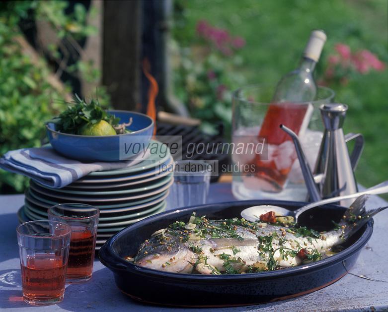 Cuisine/Gastronomie Generale: Dorade marinée aux herbes et grillée