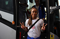 CHARLOTTE, NC - OCTOBER 03: Jessica McDonald #22 of the United States steps off the the team bus prior to their game versus Korea Republic at Bank of American Stadium, on October 03, 2019 in Charlotte, NC.