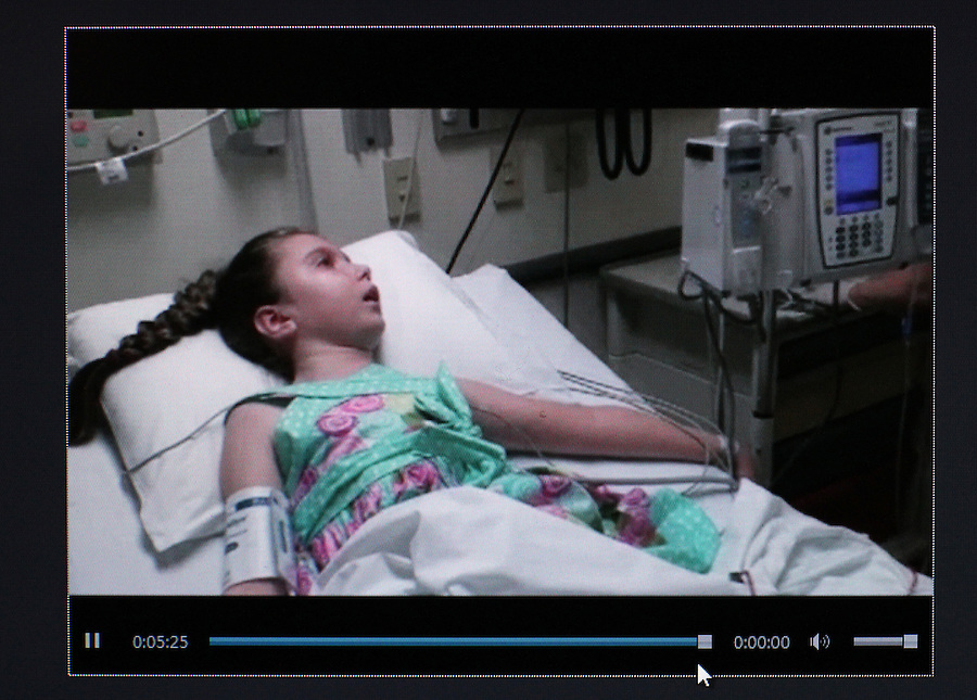 In this picture taken from a family movie, Sandra Massart, 10, receives her first stem cell infusion at Duke University Hospital in Durham, NC, USA, in June, 2012.  Sandra Massart is being treated for MLD, a degenerative condition.  Photo courtesy of William Massart