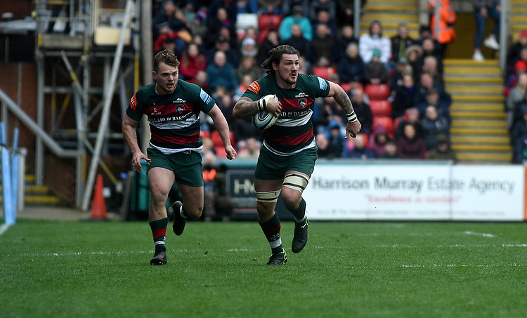 Leicester Tigers' Guy Thompson in action during todays match<br /> <br /> Photographer Hannah Fountain/CameraSport<br /> <br /> Gallagher Premiership - Leicester Tigers v Wasps - Saturday 2nd March 2019 - Welford Road - Leicester<br /> <br /> World Copyright © 2019 CameraSport. All rights reserved. 43 Linden Ave. Countesthorpe. Leicester. England. LE8 5PG - Tel: +44 (0) 116 277 4147 - admin@camerasport.com - www.camerasport.com
