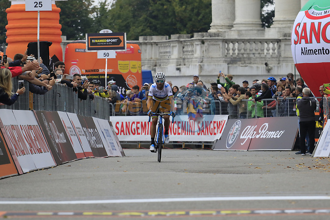 World Champion Alejandro Valverde (ESP) Movistar Team approaches the line finishing in 3rd place at the end of the 99th edition of Milan-Turin 2018, running 200km from Magenta Milan to Superga Basilica Turin, Italy. 10th October 2018.<br /> Picture: Eoin Clarke | Cyclefile<br /> <br /> <br /> All photos usage must carry mandatory copyright credit (© Cyclefile | Eoin Clarke)