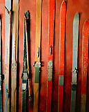 ARGENTINA, Bariloche, close-up of ski boards arranged in a row at the Kandahar Restaurant.