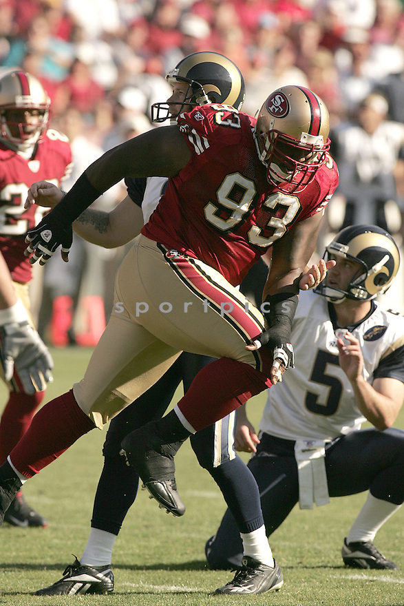 RONALD FIELDS, of the San Francisco 49ers  in action against the St. Louis Ram during the 49ers game in San Francisco, California on November 16, 2008..49ers win 35-16