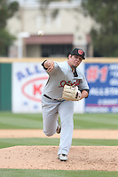 Mason McCullough (33) of the Visalia Rawhide pitches during a game against the Rancho Cucamonga Quakes at LoanMart Field on May 6, 2015 in Rancho Cucamonga, California. Visalia defeated Rancho Cucamonga, 7-2. (Larry Goren/Four Seam Images)