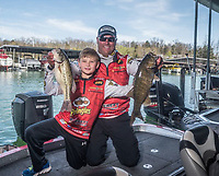 Courtesy photo<br /> Greg Bohannan of Bentonville is enjoying success during his 11th year on the FLW Tour professional bass fishing circuit. His son, Brock, 9, is often at his dad's side on the weigh-in stage at FLW tournaments.
