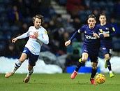 1st February 2019, Deepdale, Preston, England; EFL Championship football, Preston North End versus Derby County; Harry Wilson of Derby County races past Ben Pearson of Preston North End to shoot at goal