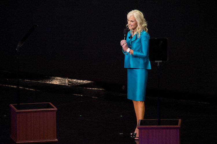 Cindy McCain addresses the crowd on the third day of the Republican National Convention held at the Xcel Center in St. Paul, September 4, 2008.