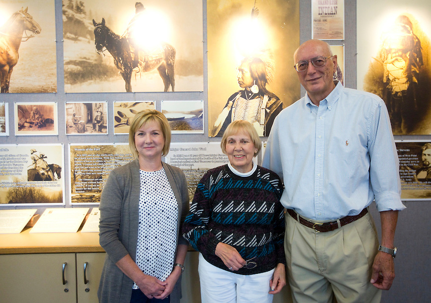Don Higgins (R) Louise Tucker (C), both Friends of the Library Board members, and Bonnie Gilberti (L), Communications manager for the city of Battle Ground, at the latest annual Battle Ground History Mystery in Battle Ground Friday September 9, 2016. Photo by Natalie Behring)