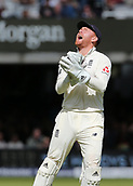 9th September 2017, Lords Cricket Ground, London, England; International test match series, third test, Day 3; England versus West Indies; England Wicket Keeper Jonny Bairstow  celebrates catching West Indies Shai Hope off the bowling of England's James Anderson