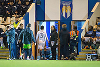 Joe Jacobson of Wycombe Wanderers makes his way to the tunnel after receiving a red card during the Sky Bet League 2 match between Colchester United and Wycombe Wanderers at the Weston Homes Community Stadium, Colchester, England on 21 February 2017. Photo by Andy Rowland / PRiME Media Images.