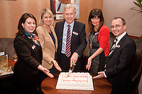 Birthday cake for all - from left are Abi Selwood, Rachael Parker, Graham Penny, Ruth Allen and Andrew Parker all of Graham Penny