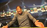 Camp Nou , UEFA Champions League, rueda de prensa previa al partido FC Barcelona - ARsenal FC. Pep Guardiola en la sala de prensa