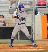 Catcher Kenny Swab (61) of the Burlington Royals, Appalachian League affiliate of the Kansas City Royals, in a game against the Kingsport Mets on August 20, 2011, at Hunter Wright Stadium in Kingsport, Tennessee. Kingsport defeated Burlington, 17-14. (Tom Priddy/Four Seam Images)