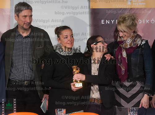 "Movie director Ildiko Enyedi (2nd R) of Hungary and members of the cast attend the press conference of their new Golden Bear winning movie ""On Body and Soul"" in Budapest, Hungary on February 21, 2017. ATTILA VOLGYI"