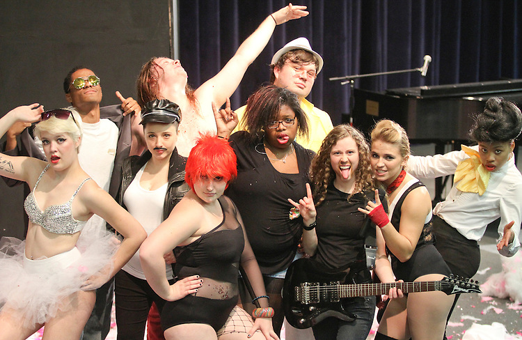CFCC's 2015 Rockstars: (L-R) Maddy Schipporiet as Lady Gaga, Syris Pelekai as Bruno Mars, Vanessa O'Connor as Freddie Mercury, Tiggy Williams as Steve Tyler, Ashleigh Wehunt and David Bowie, Taiasia Aikman as Hayley Williams of Paramore, Trent Naylor as Elton John, Katie Pace as James Hetfield of Metallica, Ashley Trew as Pink, and  Victoria Hansley as Jenelle Monae.