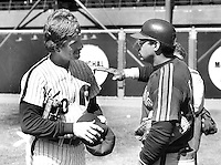 All-stars Mike Schmidt and Reggie Jackson talking before 1984 MLB All-Star game in San Francisco.<br />