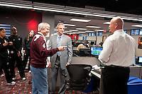 December  05, 2011 - Bristol, CT - ESPN Campus:  Texas A&M Women's Basketball team and coach Gary Blair talk with Trey Wingo (center) and Trent Dilfer (right) in the ESPNEWS room...Credit: /ESPN