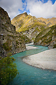 Looking downriver to the Devils Elbow, Shotover River,Queenstown Lakes District, Otago, South Island, New Zealand.