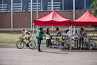 Team Sport Vlaanderen Baloise riders at the pre race COVID-19 temperature check point. <br /> <br />  Dwars Door Het Hageland 2020<br /> One Day Race: Aarschot – Diest 180km (UCI 1.1)<br /> Bingoal Cycling Cup 2020
