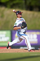Danville Braves relief pitcher Tanner Allison (8) in action against the Bristol Pirates at American Legion Post 325 Field on July 1, 2018 in Danville, Virginia. The Braves defeated the Pirates 3-2 in 10 innings. (Brian Westerholt/Four Seam Images)