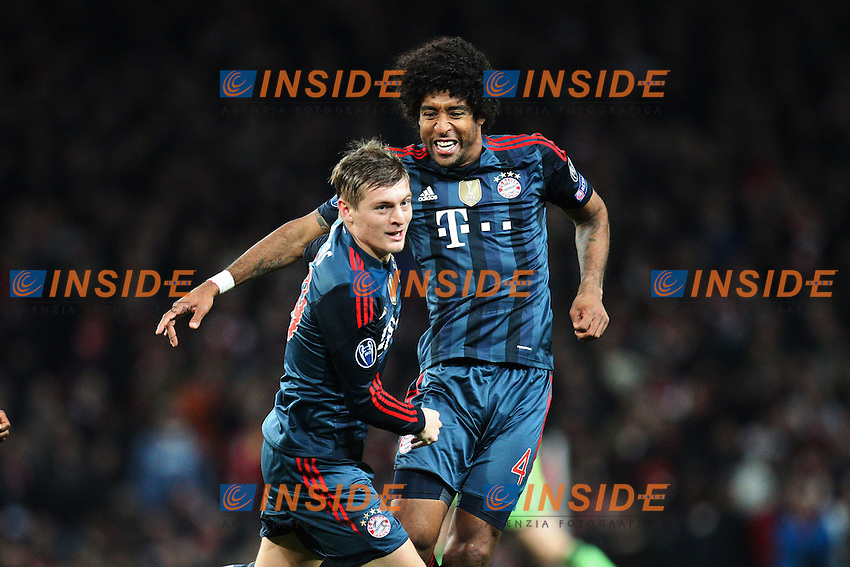 19.02.2014, Emirates Stadion, London, ENG, UEFA CL, FC Arsenal vs FC Bayern Muenchen, Achtelfinale, im Bild l-r: Torjubel von Toni KROOS #39 (FC Bayern Muenchen), DANTE #4 (FC Bayern Muenchen) // during the UEFA Champions League Round of 16 match between FC Arsenal and FC Bayern Munich at the Emirates Stadion in London, Great Britain on 2014/02/19. EXPA Pictures &copy; 2014, PhotoCredit: EXPA/ Eibner-Pressefoto/ Kolbert<br /> <br /> *****ATTENTION - OUT of GER***** <br /> Londra 19-02-2014 Emirates Stadium <br /> Football Calcio 2013/2014 Champions League<br /> Arsenal - Bayern Monaco <br /> Foto Expa / Insidefoto
