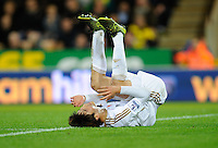 Ki Sung-yueng of Swansea City lays on the ground during the Barclays Premier League match between Norwich City and Swansea City played at Carrow Road, Norwich on November 7th 2015
