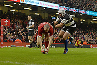 Wales Ken Owens scores his sides fourth try<br /> <br /> Photographer Ian Cook/CameraSport<br /> <br /> 2019 Autumn Internationals - Wales v Barbarians - Saturday 30th November 2019 - Principality Stadium - Cardifff<br /> <br /> World Copyright © 2019 CameraSport. All rights reserved. 43 Linden Ave. Countesthorpe. Leicester. England. LE8 5PG - Tel: +44 (0) 116 277 4147 - admin@camerasport.com - www.camerasport.com