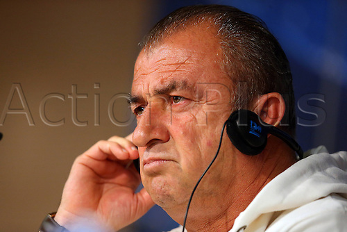 02.04.2013. Madrid, Spain. Head Coach Fatih Terim of Galatasaray Attends A Press Conference Ahead of their UEFA Champions League Quarter Final First Leg Match Against Real Madrid ON April 2 2013 in Madrid Spain