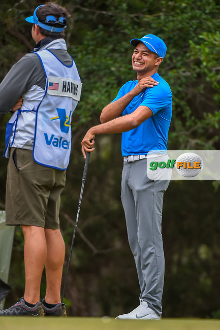 Julian Suri (USA) shares a laugh on the 14th tee during Round 3 of the Valero Texas Open, AT&T Oaks Course, TPC San Antonio, San Antonio, Texas, USA. 4/21/2018.<br /> Picture: Golffile | Ken Murray<br /> <br /> <br /> All photo usage must carry mandatory copyright credit (© Golffile | Ken Murray)