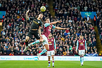 12th January 2020; Villa Park, Birmingham, Midlands, England; English Premier League Football, Aston Villa versus Manchester City; Gabriel Jesus of Manchester City and Danny Drinkwater of Aston Villa compete in the air for the ball - Strictly Editorial Use Only. No use with unauthorized audio, video, data, fixture lists, club/league logos or 'live' services. Online in-match use limited to 120 images, no video emulation. No use in betting, games or single club/league/player publications