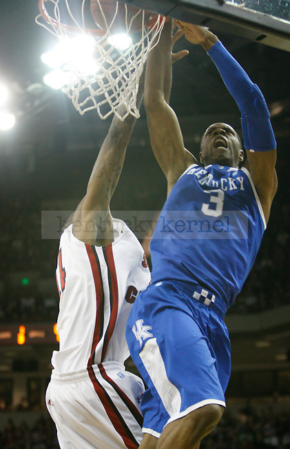 UK forward Terrence Jones makes a contested dunk against South Carolina at Colonial Life Arena on Saturday, Jan. 22, 2011. Photo by Scott Hannigan | Staff