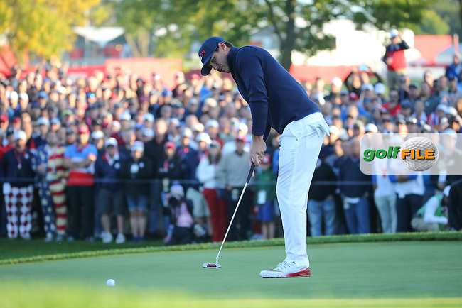Brooks Koepka (Team USA) putting on the first during the Saturday Morning Foursomes, at the 41st Ryder Cup 2016, at Hazeltine National Golf Club, Minnesota, USA.  01View of the 10th2016. Picture: David Lloyd | Golffile.