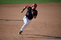 Batavia Muckdogs third baseman Tyler Curtis (11) running the bases during the second game of a doubleheader against the Williamsport Crosscutters on August 20, 2017 at Dwyer Stadium in Batavia, New York.  Batavia defeated Williamsport 4-3.  (Mike Janes/Four Seam Images)