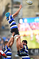 Zach Mercer of Bath Rugby rises high to win lineout ball. Aviva Premiership match, between Bath Rugby and Gloucester Rugby on October 29, 2017 at the Recreation Ground in Bath, England. Photo by: Patrick Khachfe / Onside Images