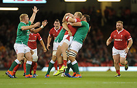 Wales Aled Davies is tackled by Ireland's Iain Henderson and Jack Conan<br /> <br /> Photographer Ian Cook/CameraSport<br /> <br /> 2019 Under Armour Summer Series - Wales v Ireland - Saturday 31st August 2019 - Principality Stadium - Cardifff<br /> <br /> World Copyright © 2019 CameraSport. All rights reserved. 43 Linden Ave. Countesthorpe. Leicester. England. LE8 5PG - Tel: +44 (0) 116 277 4147 - admin@camerasport.com - www.camerasport.com