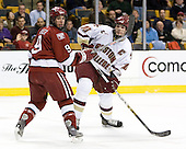 Jimmy Fraser (Harvard University - Port Huron, MI) and Brian Boyle (Boston College - Hingham, MA) battle for position. The Boston College Eagles defeated the Harvard University Crimson 3-1 in the first round of the 2007 Beanpot Tournament on Monday, February 5, 2007, at the TD Banknorth Garden in Boston, Massachusetts.  The first Beanpot Tournament was played in December 1952 with the scheduling moved to the first two Mondays of February in its sixth year.  The tournament is played between Boston College, Boston University, Harvard University and Northeastern University with the first round matchups alternating each year.