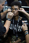 JOHANNESBURG, SOUTH AFRICA - MARCH 10: A model gets her make-up done backstage before a show at Johannesburg Fashion Week week on March 10, 2016, at Nelson Mandela Square Johannesburg, South Africa. (Photo by: Per-Anders Pettersson)