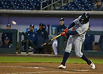 Reno Aces Juniel Querecutovs smacks a homerun against the Nevada Wolf Pack at Greater Nevada Field in downtown Reno, Nevada on Tuesday, April 2, 2019.